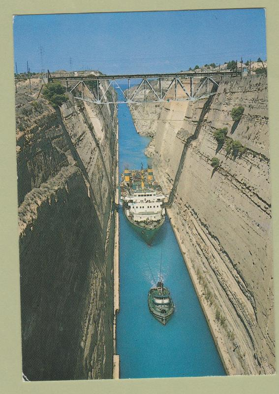 Greece Corinth Canal Railroad Bridge Postcard Korinth Ship Isthmus