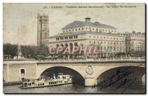 Old Postcard Paris Theater Sarah Bernhardt Tour St Jacques Boat Peniche