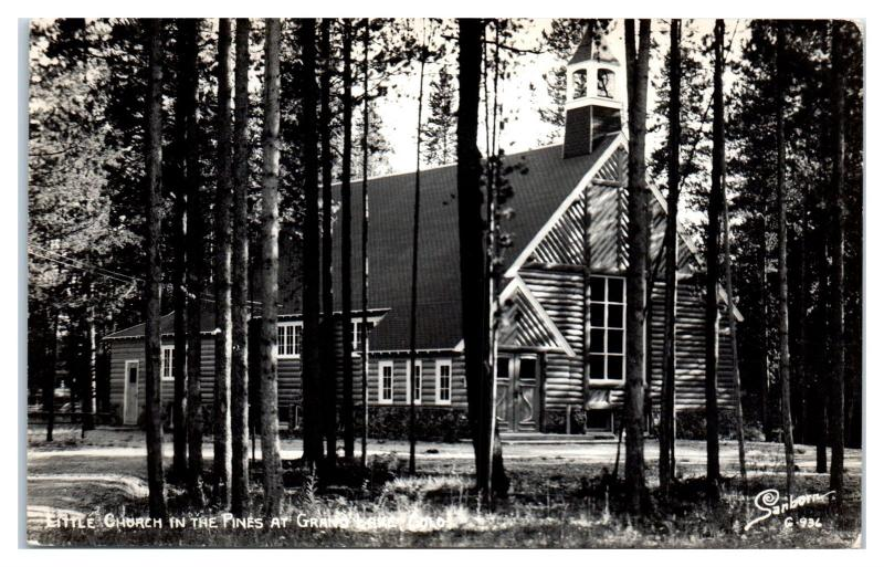 RPPC Little Church in the Pines at Grand Lake, CO Real Photo Postcard