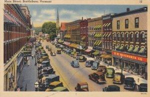 Vermont Brattleboro Old Cars Main Street Woolworth 1941 sk3431