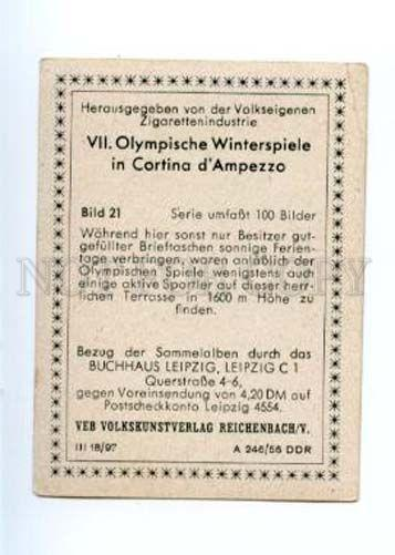 167009 Olympic Winter Games CORTINA d'Ampezzo CIGARETTE card