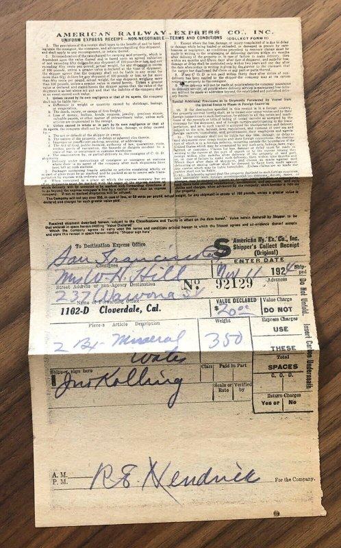 1924 American Railway Express Receipt Ephemera Railroad - Vintage  Cloverdale CA