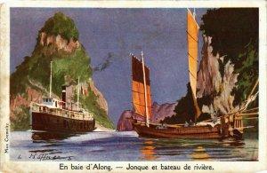 CPA AK INDOCHINA Baie d'Along Jonque et bateau de riviere VIETNAM (957839)