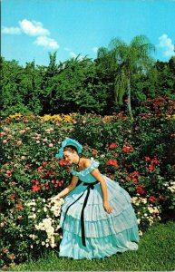 Postcard Cypress Gardens Antebellum Dress Flowers Florida Scenic Unposted 1499