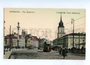 247031 POLAND WARSZAWA Sigismond square TRAM Wolska OLD tinted