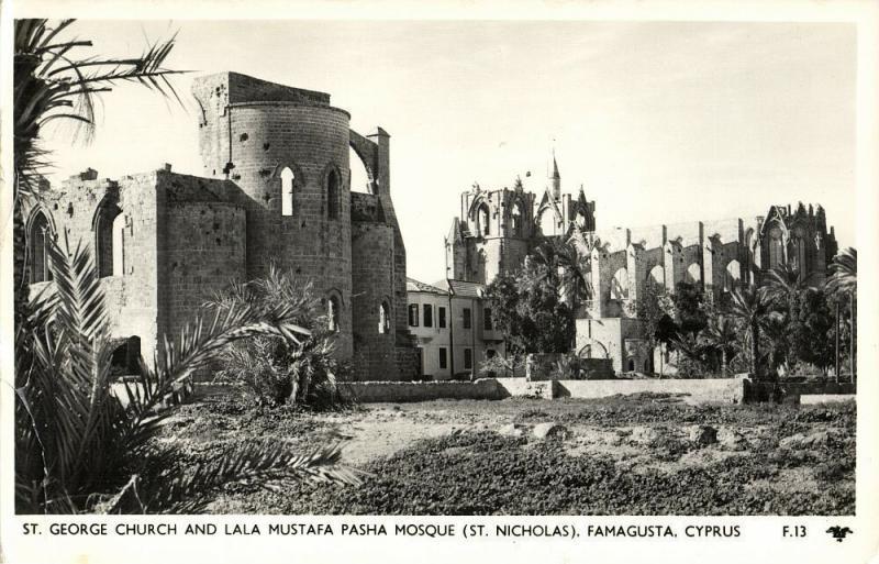 cyprus, FAMAGUSTA, St. George Church, Lala Mustafa Pasha Mosque (1950s) Postcard