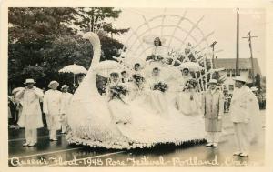 Queens Float 1948 Rose Festival Portland Oregon RPPC real photo postcard 877
