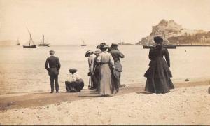 Baia Italy Beach People Boats Real Photo Antique Postcard J79296