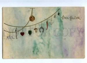 184808 NEW YEAR Chain Good LUCK Vintage OPF EMBOSSED PC