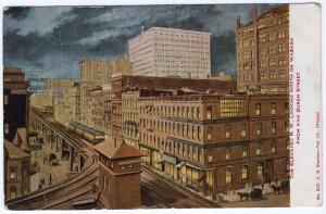 The Elevated R.R. Looking North On Wabash From Van Buren Street