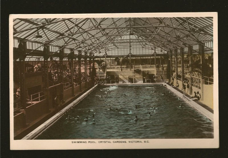 Canada Postmark 1939 Victoria BC Pool in Crystal Gardens Gowen Sutton Postcard