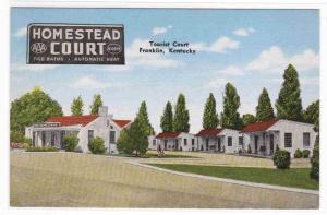 Homestead Court Motel Franklin Kentucky postcard