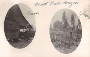 Grants Pass Oregon Multiview Farmer Cow Real Photo Antique Postcard K24537