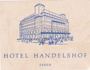 Germany Essen Hotel Handelshof Vintage Luggage Label sk3165