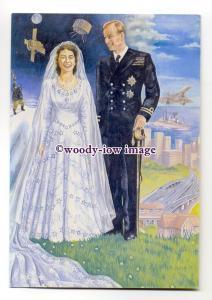 pq0066 - Princess Elizabeth wedding to Philip Moountbatten - art postcard