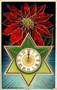 Vintage Postcard New Year Greeting 1915 Clock Star Poinsettia German San Jose CA
