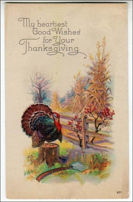 Thanksgiving, Turkey on Stumpp by Fence