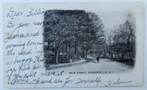 VINTAGE 1905 UNDIVIDED POSTCARD MAIN STREET STEVENSVILLE NY NEW YORK