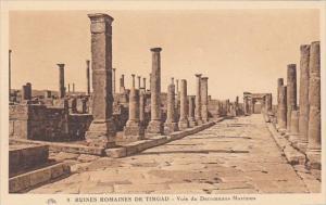 Algeria Ruines Romaines de Timgad Voie de Decumanus Maximus