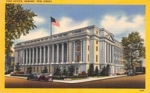 Newark New Jersey~US Post Office~Flag Flying~1940s Cars~Linen Postcard