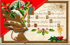 Vtg Postcard M.L. Jackson Embossed Christmas Bells Holly North Star Poem Unused