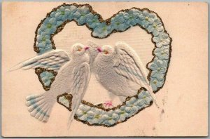 Vintage 1910s VALENTINE'S DAY Embossed Postcard White Doves Air-Brushed Heart