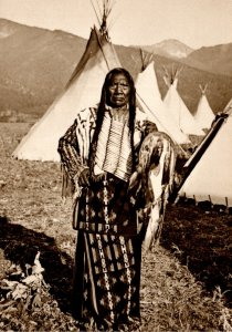 Salish Indian The Great Chief Charlot Photgraphed 1907-08 At Flathead Reserva...