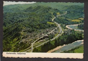 CA Aerial View City Garberville California Postcard Redwoods Country