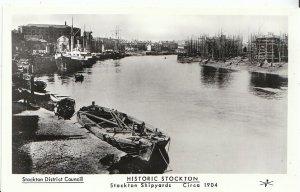Durham Postcard - Historic Stockton - Stockton Shipyards - Circa 1904 - Ref U828