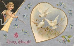 Valentine~Cupid Peels Back Corner~White Doves Heart Vignette~Silver Back~Winsch