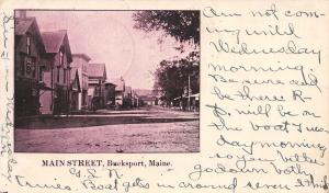 Bucksport Maine~Main Street~Homes~Stores~Dirt Road~Private Mailing Card~1903 PC