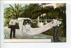 424416 PORTUGAL MADEIRA Hamnocks Girl on a portable hammock Vintage postcard