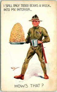 1910s WWI Artist-Signed WALL Comic Postcard I Spill Only 70,000 Beans a Week