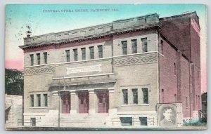 Fairbury Illinois~Central Opera House Closeup~Theatre Actor Poster~1908 Postcard