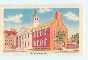 Linen CITY HALL SCENE York Pennsylvania PA AF2064