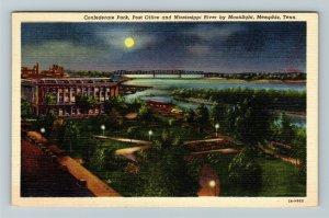 Memphis TN-Tennessee,Confederate Park,Post Office Mississippi Riv,Linen Postcard