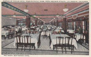 LOS ANGELES, California, 1900-10s; Portion of Famous Hotel Rosslyn Dining Roo...