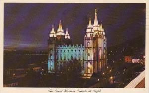 Utah Salt Lake City The Great Mormon Temple At Night 1966