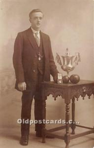 Old Vintage Lawn Bowling Postcard Post Card Male Bowler with Trophy Real phot...