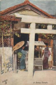 Fair Japan British Exhibition 1910 Raphael Tuck series postcard - A Sunny Temple