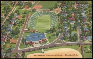 Memorial Stadium and Armory. Charlotte, NC. Curt Teich linen postard, circa 1945