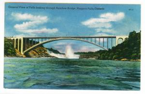 General View through Rainbow Bridge, Niagara Falls, Ontario, unused PPC