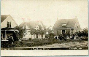 1908 HAVELOCK, Nebraska RPPC Real Photo Postcard A Residence Street Houses