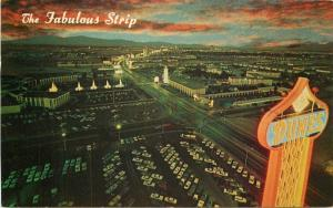 Aerial View Strip night Las Vegas Nevada Postcard Rivera Hotel Scott 4137