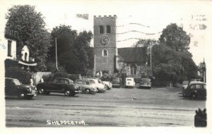 Vintage 1956 Real Photo Postcard, St. Nicholas Church Shepperton Surrey 89V