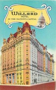 Art Tone Glo Var Hotel Willard roadside Washington DC linen  Postcard 10452