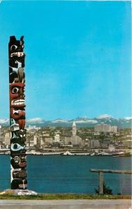 Seattle Washington~Beyond Totem Pole: Seattle Sky Line~Puget Sound 1960