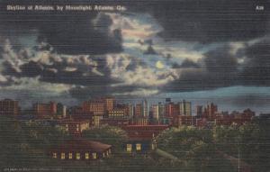 ATLANTA, Georgia, PU-1948; Skyline of Atlanta by Moonlight