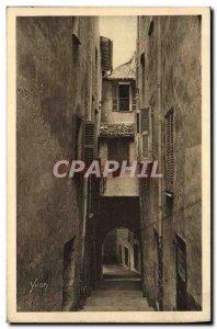 Old Postcard Villefranche the dark street