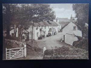 Devon HORNS CROSS Hoops Inn showing PETROL PUMPS STATION - Old Postcard